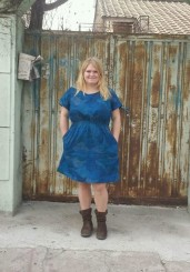 April Rhodes Staple Dress in Nani Iro Mountain View double gauze